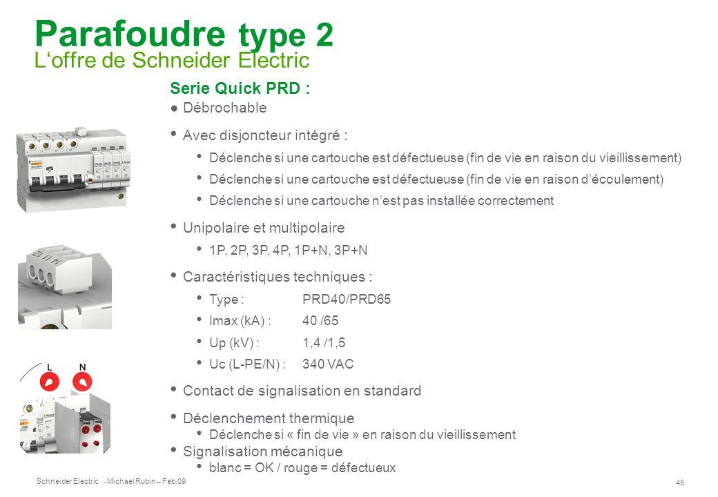Schneider Electric 45 -Michael Rubin – Feb.09 Parafoudre type 2 Loffre de Schneider Electric Serie Quick PRD : Débrochable Avec disjoncteur intégré :