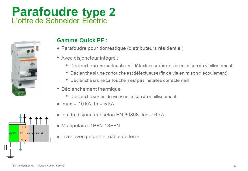 Schneider Electric 47 -Michael Rubin – Feb.09 Parafoudre type 2 Loffre de Schneider Electric Gamme Quick PF : Parafoudre pour domestique (distributeur