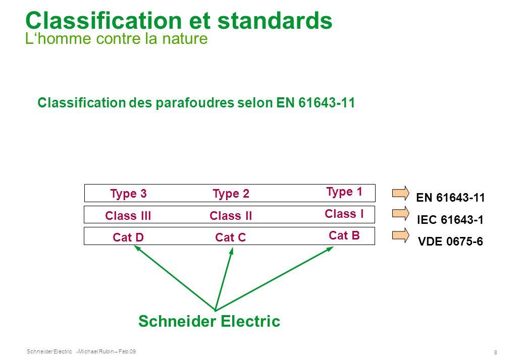 Schneider Electric 8 -Michael Rubin – Feb.09 Classification et standards Lhomme contre la nature Classification des parafoudres selon EN 61643-11 Type