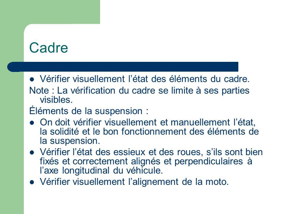 Cadre Vérifier visuellement létat des éléments du cadre. Note : La vérification du cadre se limite à ses parties visibles. Éléments de la suspension :