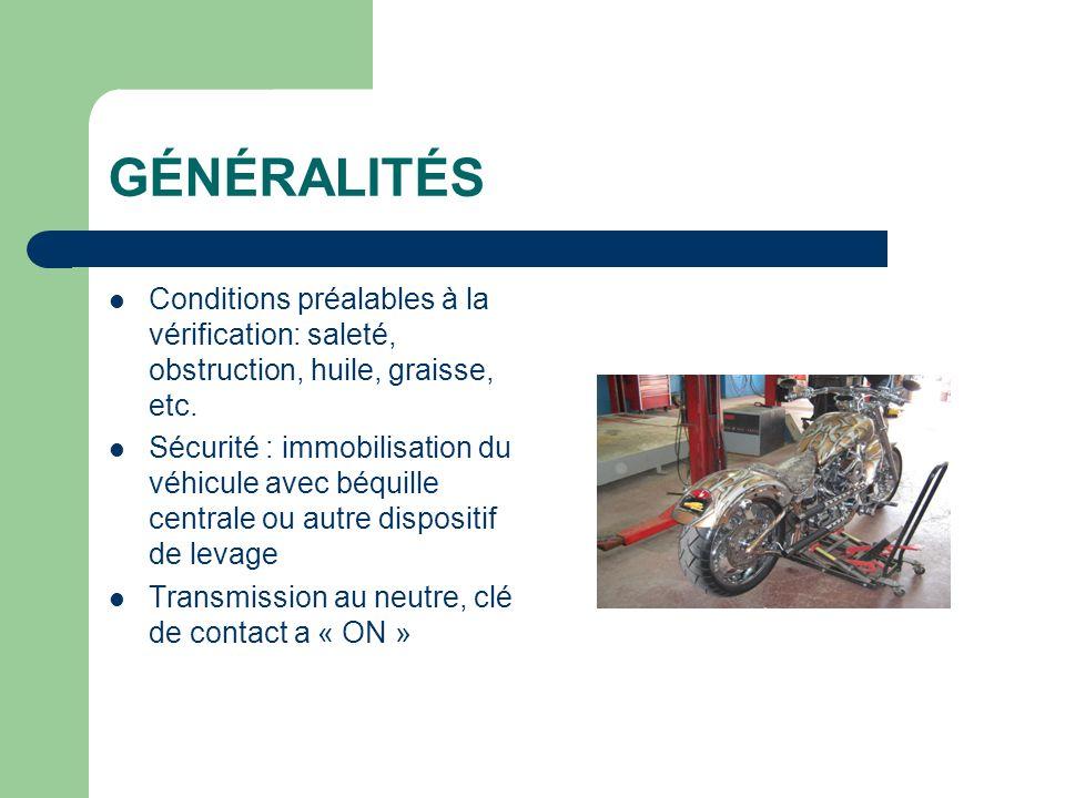 GÉNÉRALITÉS Conditions préalables à la vérification: saleté, obstruction, huile, graisse, etc. Sécurité : immobilisation du véhicule avec béquille cen