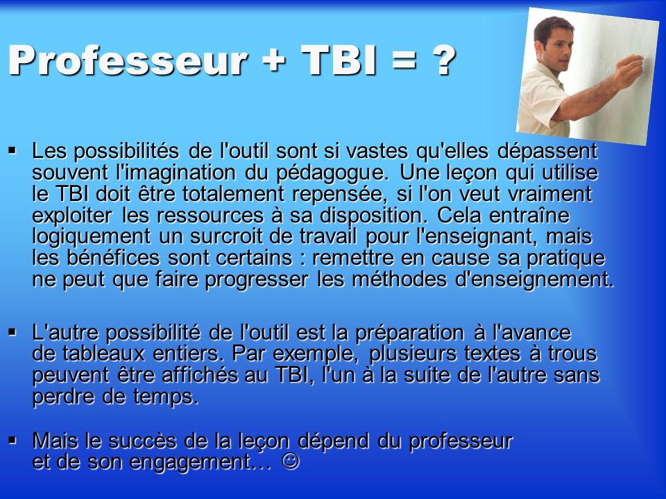 Limites Le TBI comme d'un outil de remédiation (en revenant sur une leçon ou un exercice qui étaient affichés). Il facilite également la présentation