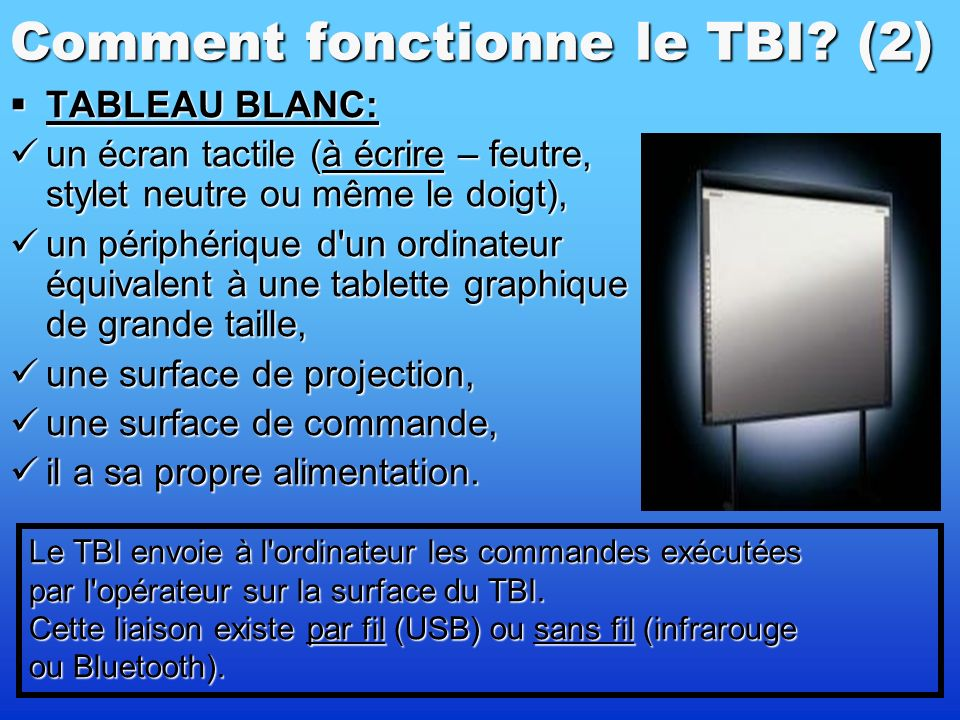 Comment fonctionne le TBI? (1) Le TBI – une partie dun dispositif plus coplexe. Le TBI – une partie dun dispositif plus coplexe. Ce système se compose