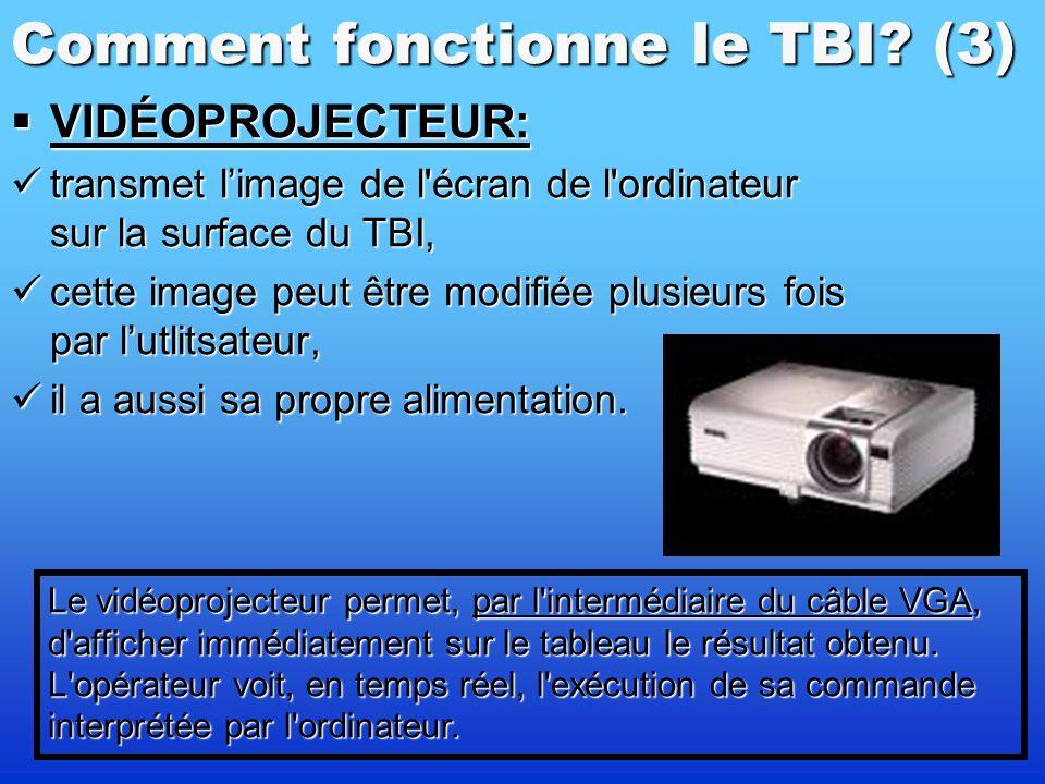 Comment fonctionne le TBI? (2) TABLEAU BLANC: TABLEAU BLANC: un écran tactile (à écrire – feutre, stylet neutre ou même le doigt), un écran tactile (à