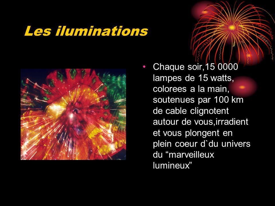 Les iluminations Chaque soir,15 0000 lampes de 15 watts, colorees a la main, soutenues par 100 km de cable clignotent autour de vous,irradient et vous plongent en plein coeur d`du univers du marveilleux lumineux