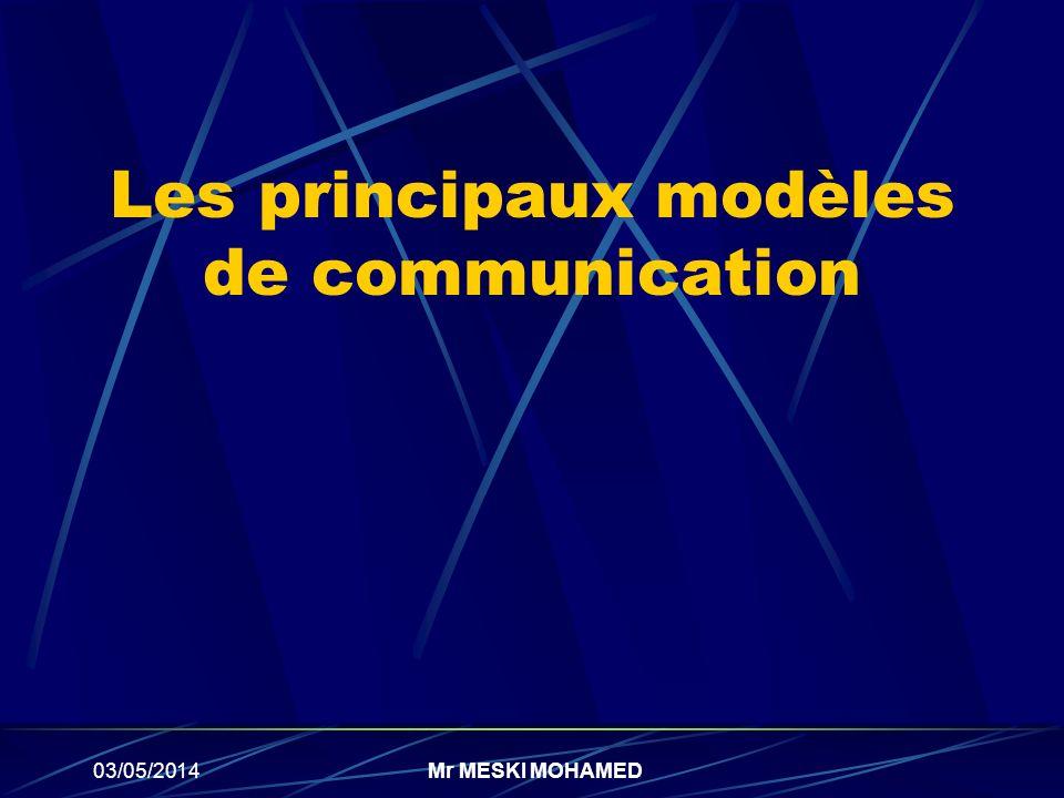 03/05/2014Mr MESKI MOHAMED Les principaux modèles de communication