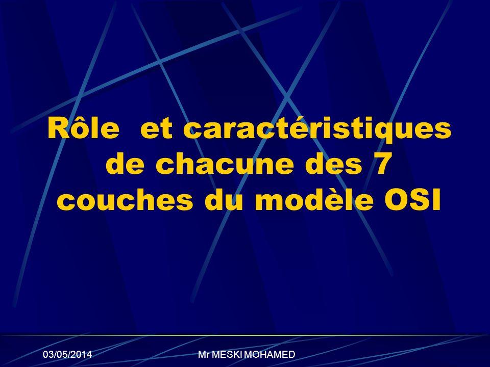 03/05/2014 Rôle et caractéristiques de chacune des 7 couches du modèle OSI Mr MESKI MOHAMED