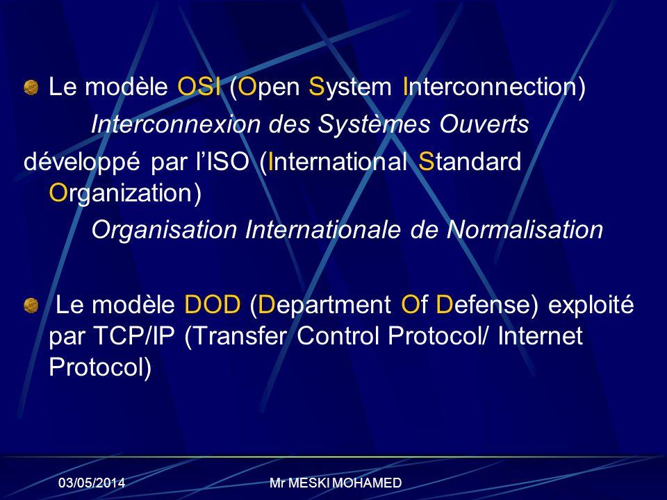 03/05/2014 Le modèle OSI (Open System Interconnection) Interconnexion des Systèmes Ouverts développé par lISO (International Standard Organization) Or