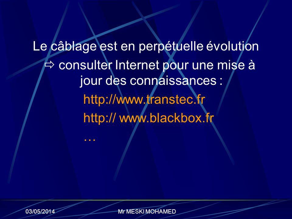 03/05/2014 Le câblage est en perpétuelle évolution consulter Internet pour une mise à jour des connaissances : http://www.transtec.fr http:// www.blac