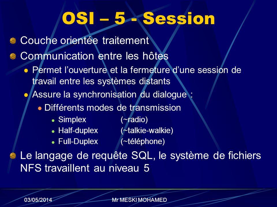 03/05/2014 OSI – 5 - Session Couche orientée traitement Communication entre les hôtes Permet louverture et la fermeture dune session de travail entre