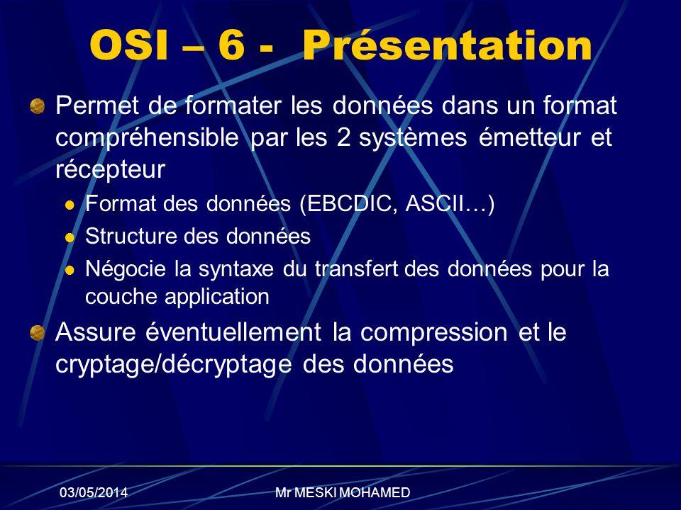 03/05/2014 OSI – 6 - Présentation Permet de formater les données dans un format compréhensible par les 2 systèmes émetteur et récepteur Format des don