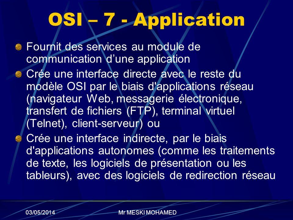 03/05/2014 OSI – 7 - Application Fournit des services au module de communication dune application Crée une interface directe avec le reste du modèle O