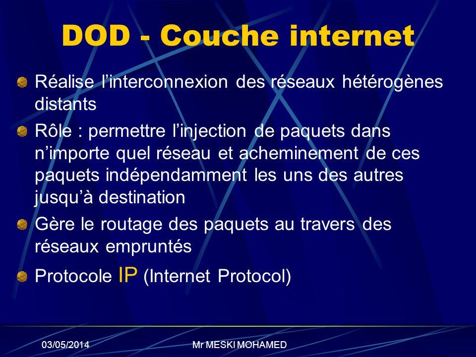 03/05/2014 DOD - Couche internet Réalise linterconnexion des réseaux hétérogènes distants Rôle : permettre linjection de paquets dans nimporte quel ré