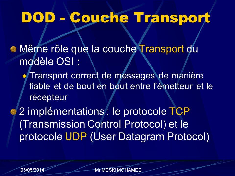 03/05/2014 DOD - Couche Transport Même rôle que la couche Transport du modèle OSI : Transport correct de messages de manière fiable et de bout en bout