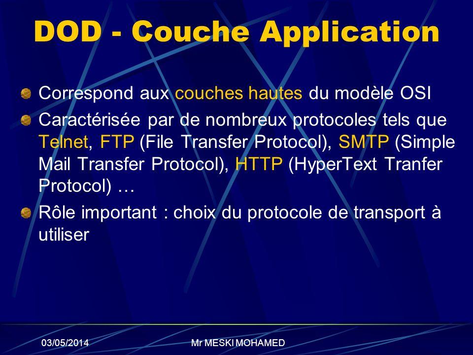 03/05/2014 DOD - Couche Application Correspond aux couches hautes du modèle OSI Caractérisée par de nombreux protocoles tels que Telnet, FTP (File Tra