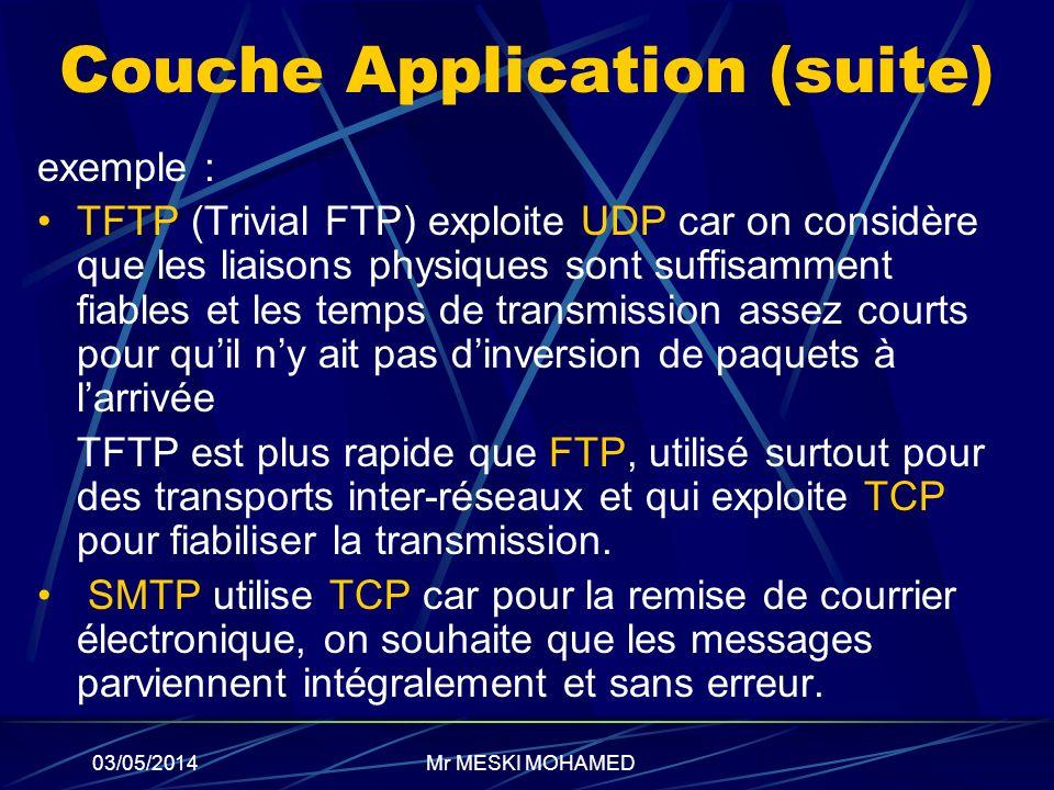 03/05/2014 Couche Application (suite) exemple : TFTP (Trivial FTP) exploite UDP car on considère que les liaisons physiques sont suffisamment fiables