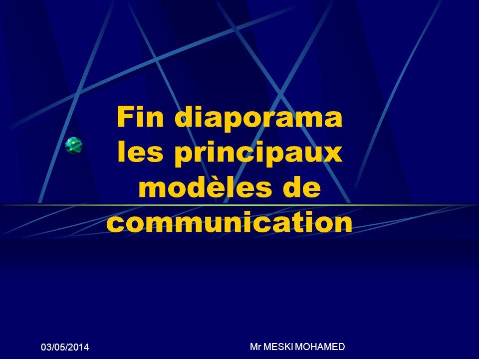 03/05/2014 Fin diaporama les principaux modèles de communication Mr MESKI MOHAMED