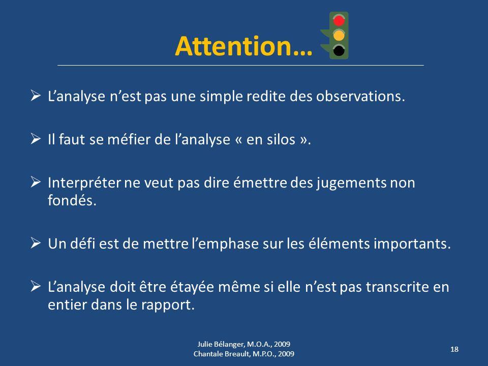 Attention… Lanalyse nest pas une simple redite des observations.