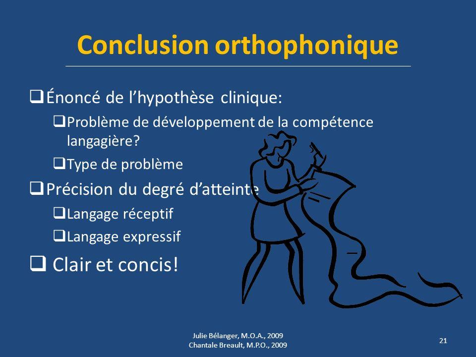 Conclusion orthophonique Énoncé de lhypothèse clinique: Problème de développement de la compétence langagière.