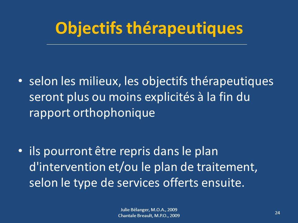 Objectifs thérapeutiques selon les milieux, les objectifs thérapeutiques seront plus ou moins explicités à la fin du rapport orthophonique ils pourront être repris dans le plan d intervention et/ou le plan de traitement, selon le type de services offerts ensuite.