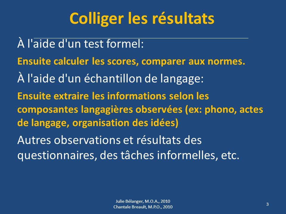 Colliger les résultats À l aide d un test formel: Ensuite calculer les scores, comparer aux normes.