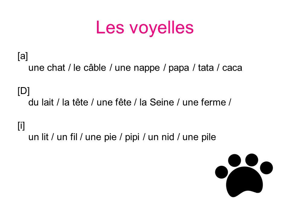Les voyelles [a] une chat / le câble / une nappe / papa / tata / caca [D] du lait / la tête / une fête / la Seine / une ferme / [i] un lit / un fil / une pie / pipi / un nid / une pile