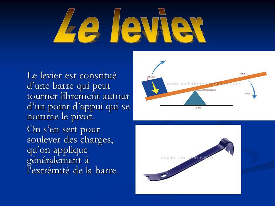 Le levier est constitué dune barre qui peut tourner librement autour dun point dappui qui se nomme le pivot. On sen sert pour soulever des charges, qu
