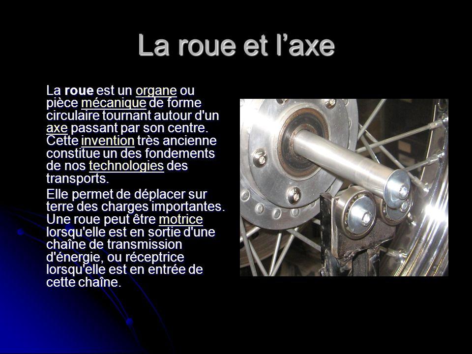 La roue et laxe La roue est un organe ou pièce mécanique de forme circulaire tournant autour d'un axe passant par son centre. Cette invention très anc