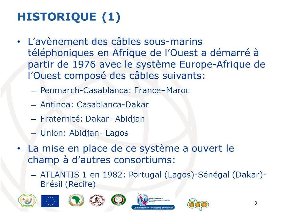 2 HISTORIQUE (1) Lavènement des câbles sous-marins téléphoniques en Afrique de lOuest a démarré à partir de 1976 avec le système Europe-Afrique de lOu