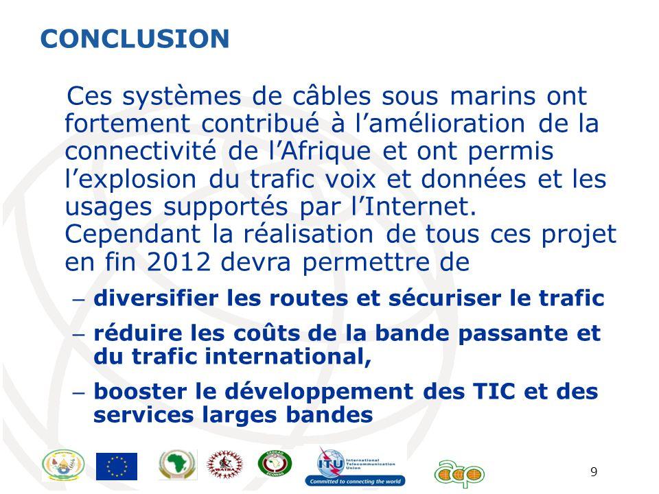 9 CONCLUSION Ces systèmes de câbles sous marins ont fortement contribué à lamélioration de la connectivité de lAfrique et ont permis lexplosion du tra