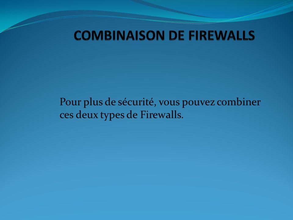 Pour plus de sécurité, vous pouvez combiner ces deux types de Firewalls.