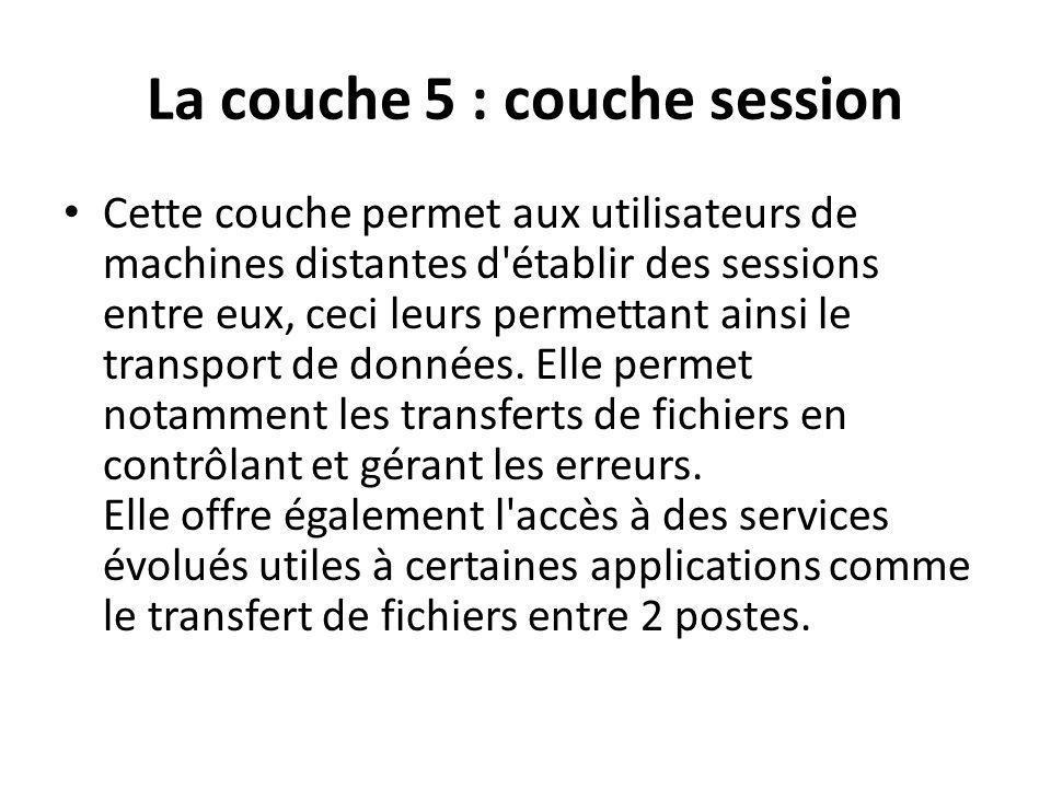 La couche 5 : couche session Cette couche permet aux utilisateurs de machines distantes d'établir des sessions entre eux, ceci leurs permettant ainsi