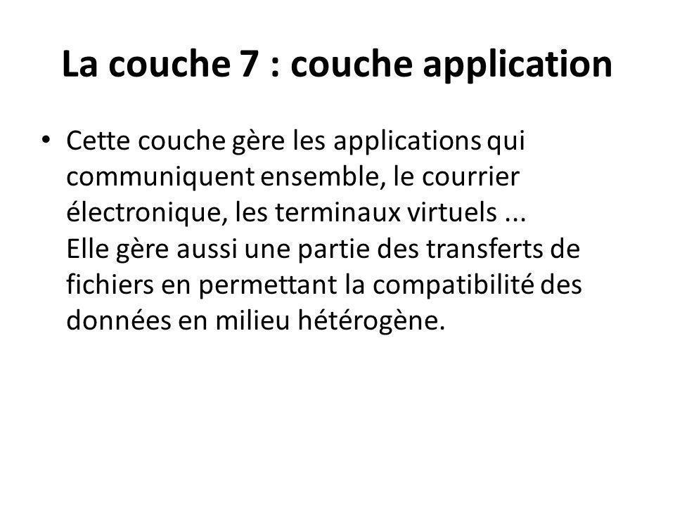 La couche 7 : couche application Cette couche gère les applications qui communiquent ensemble, le courrier électronique, les terminaux virtuels...