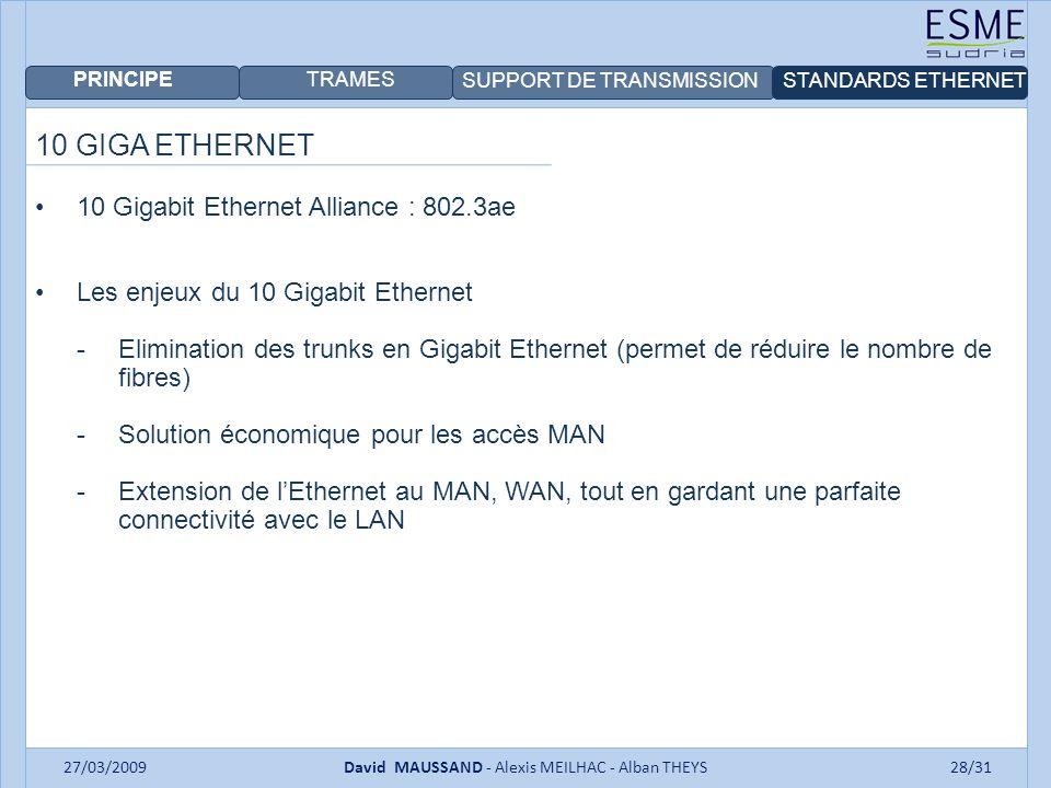 PRINCIPE TRAMES SUPPORT DE TRANSMISSIONSTANDARDS ETHERNET 27/03/2009David MAUSSAND - Alexis MEILHAC - Alban THEYS28/31 10 GIGA ETHERNET 10 Gigabit Ethernet Alliance : 802.3ae Les enjeux du 10 Gigabit Ethernet -Elimination des trunks en Gigabit Ethernet (permet de réduire le nombre de fibres) -Solution économique pour les accès MAN -Extension de lEthernet au MAN, WAN, tout en gardant une parfaite connectivité avec le LAN