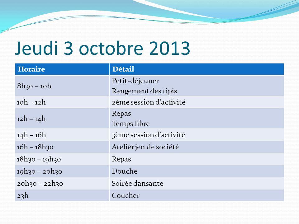 Jeudi 3 octobre 2013 HoraireDétail 8h30 – 10h Petit-déjeuner Rangement des tipis 10h – 12h2ème session dactivité 12h – 14h Repas Temps libre 14h – 16h