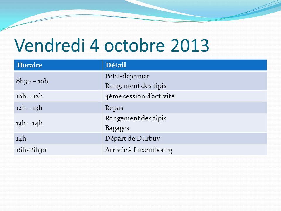 Vendredi 4 octobre 2013 HoraireDétail 8h30 – 10h Petit-déjeuner Rangement des tipis 10h – 12h4ème session dactivité 12h – 13hRepas 13h – 14h Rangement