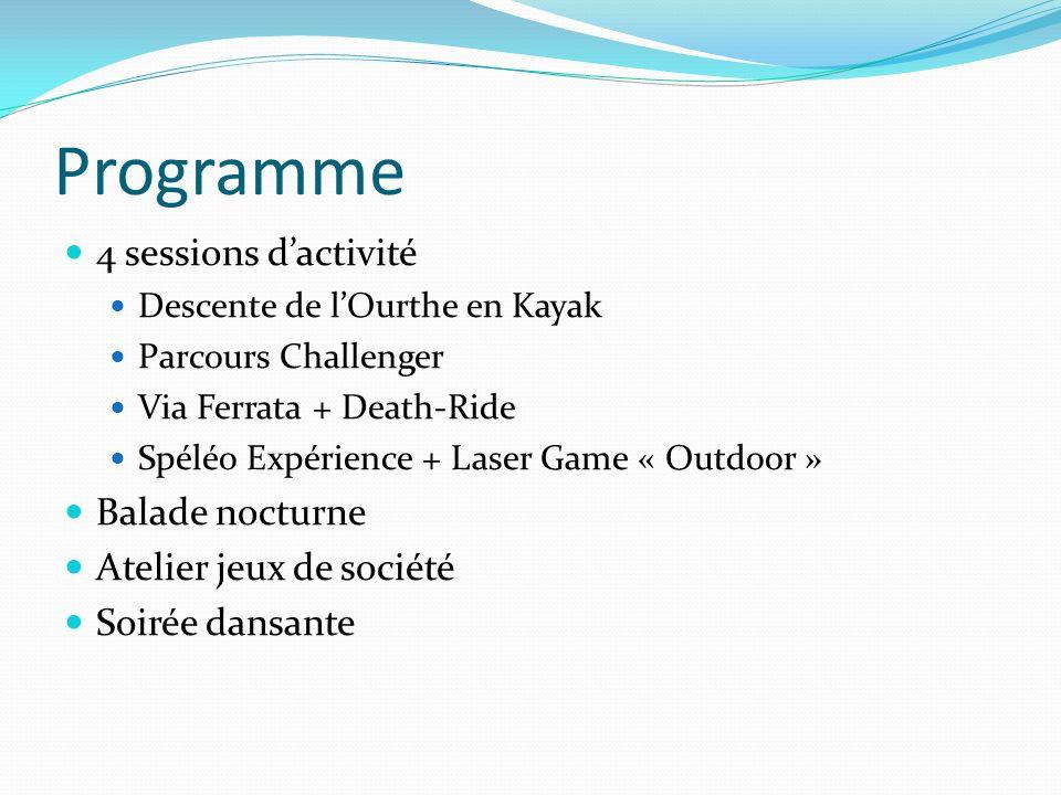Programme 4 sessions dactivité Descente de lOurthe en Kayak Parcours Challenger Via Ferrata + Death-Ride Spéléo Expérience + Laser Game « Outdoor » Ba