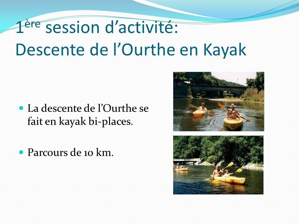 1 ère session dactivité: Descente de lOurthe en Kayak La descente de lOurthe se fait en kayak bi-places. Parcours de 10 km.