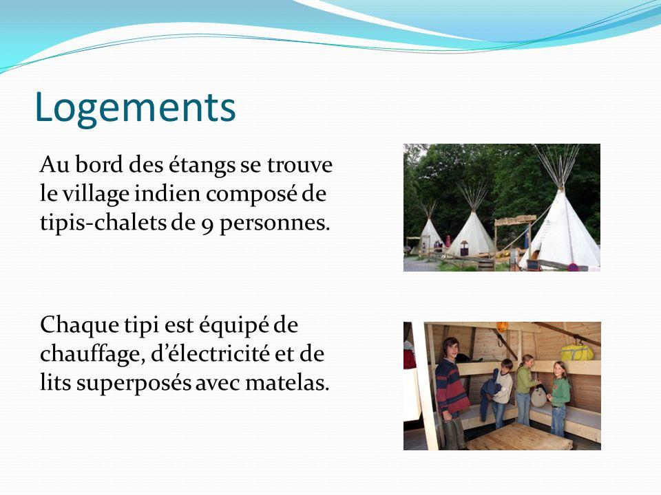 Logements Au bord des étangs se trouve le village indien composé de tipis-chalets de 9 personnes. Chaque tipi est équipé de chauffage, délectricité et