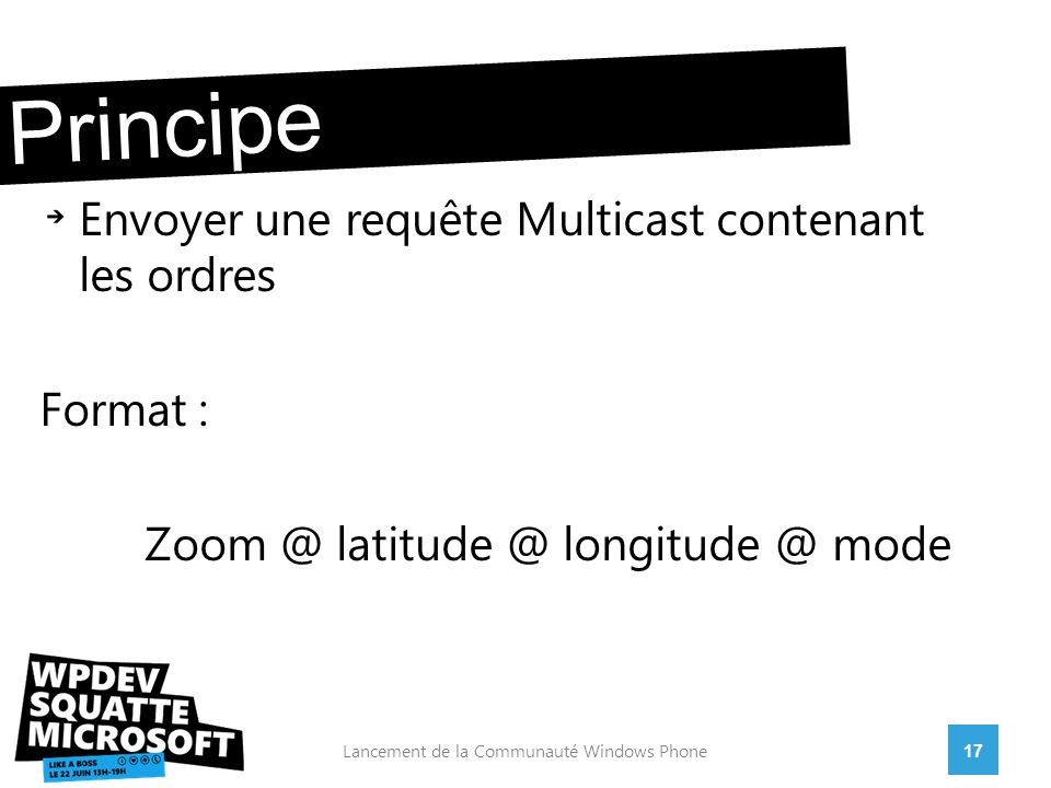 Envoyer une requête Multicast contenant les ordres Format : Zoom @ latitude @ longitude @ mode 17Lancement de la Communauté Windows Phone Principe