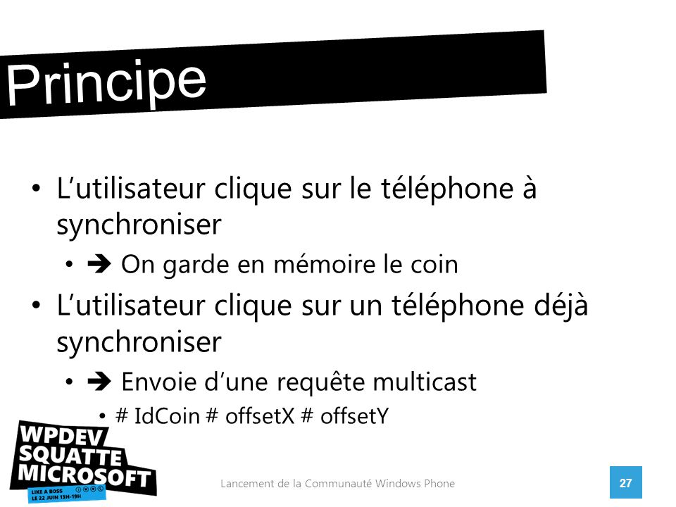 28Lancement de la Communauté Windows Phone position relative On stocke : synchroGauche Multicast : Ma position : 0,3 Calcule : 0,(3+1) = 0,4