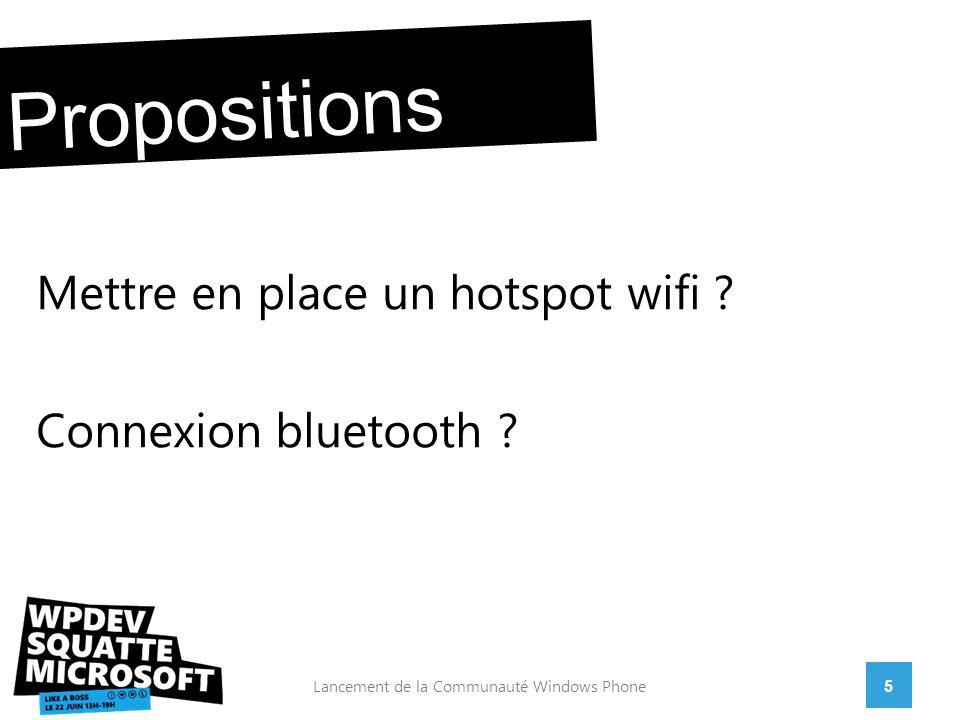 Mettre en place un hotspot wifi . Connexion bluetooth .