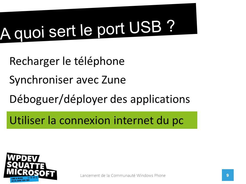 9Lancement de la Communauté Windows Phone A quoi sert le port USB .