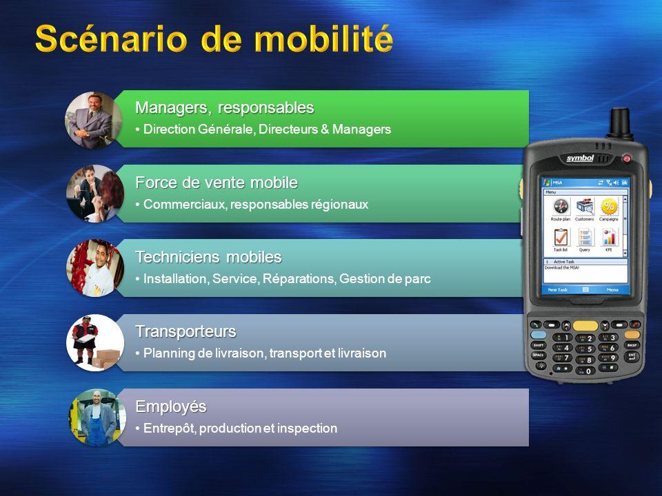 Managers, responsables Direction Générale, Directeurs & Managers Force de vente mobile Commerciaux, responsables régionaux Techniciens mobiles Install