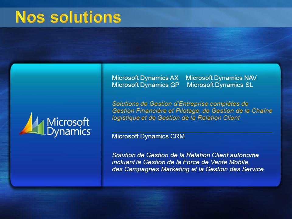 Nos solutions Microsoft Dynamics AX Microsoft Dynamics NAV Microsoft Dynamics GP Microsoft Dynamics SL Solutions de Gestion dEntreprise complètes de G