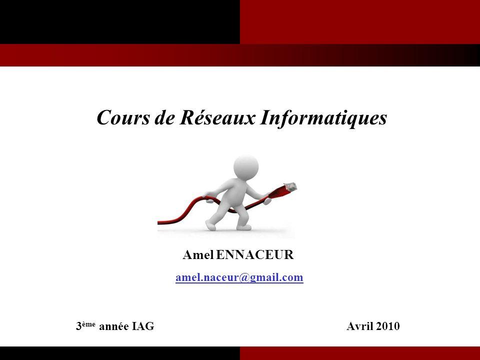 Cours de Réseaux Informatiques Amel ENNACEUR amel.naceur@gmail.com 3 ème année IAG Avril 2010