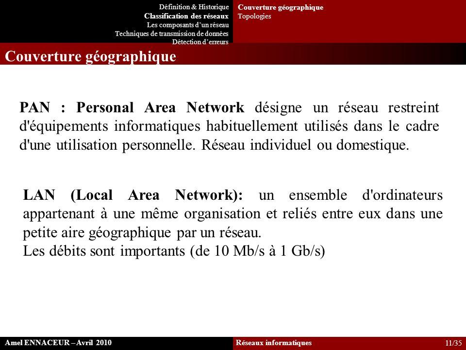 LAN (Local Area Network): un ensemble d'ordinateurs appartenant à une même organisation et reliés entre eux dans une petite aire géographique par un r