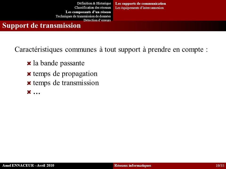 Support de transmission Caractéristiques communes à tout support à prendre en compte : la bande passante temps de propagation temps de transmission …