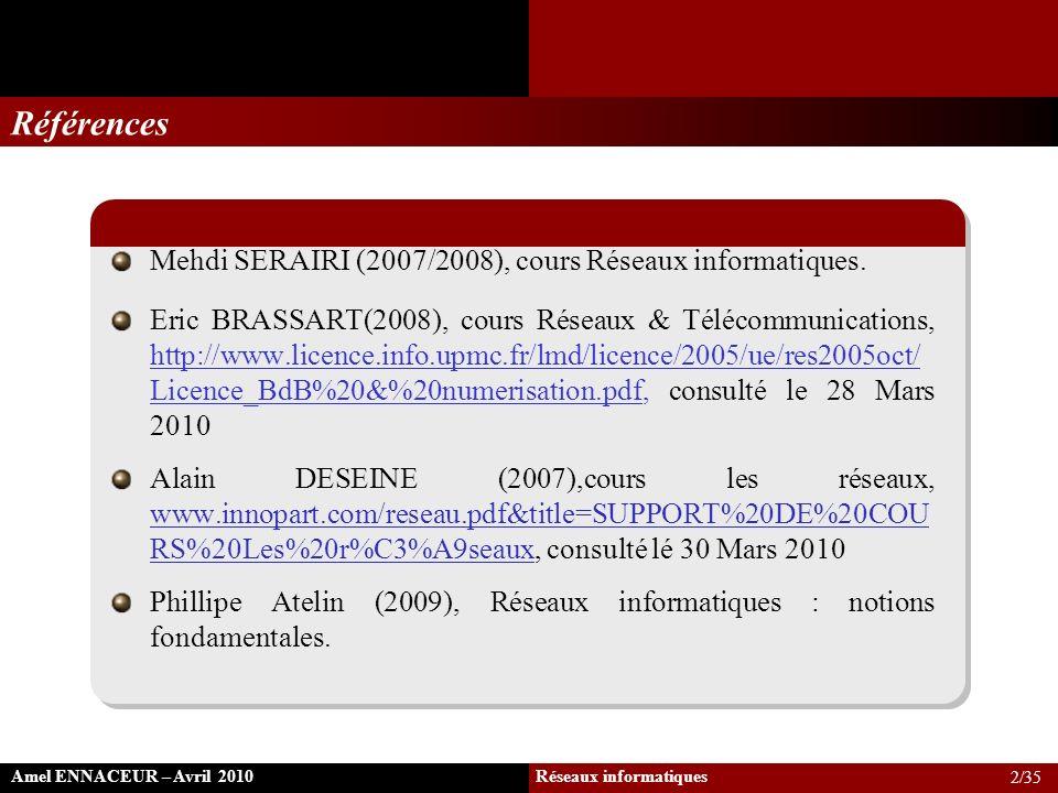 Références Mehdi SERAIRI (2007/2008), cours Réseaux informatiques. Eric BRASSART(2008), cours Réseaux & Télécommunications, http://www.licence.info.up