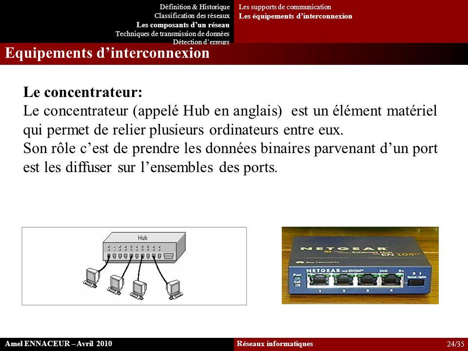 Le concentrateur: Le concentrateur (appelé Hub en anglais) est un élément matériel qui permet de relier plusieurs ordinateurs entre eux. Son rôle cest